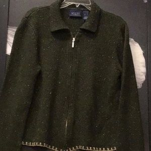 Liz Claiborne- crazy horse- zip up sweater